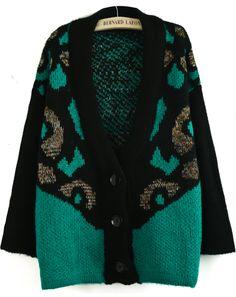 Green Long Sleeve Tiger Pattern Cardigan US$40.33