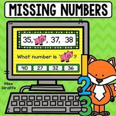 Missing numbers game kids can play on a computer or tablet to practice! Number Sense Activities, Graphing Activities, Number Games, Letter Activities, Kindergarten Activities, Preschool, Tot School, School Fun, Math Centers