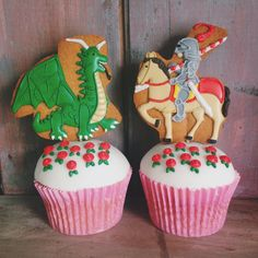 England's St George's day. A Dragon, knight and roses all created in biscuit and cupcake form!