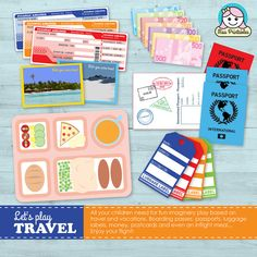 Printable travel set for children's pretend play by MissPrintables, £4.50 www.etsy.com/shop/missprintables
