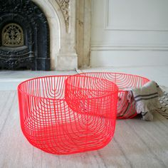 All Remodelista Home Inspiration Stories in One Place Neon Red Wire Storage Baskets from A+R Store in LA Wire Basket Storage, Wire Storage, Wire Baskets, Hallway Storage, Deco Rose, Home Decoracion, Deco Design, Home And Deco, Decoration