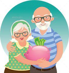 Stock illustration Elderly couple retired