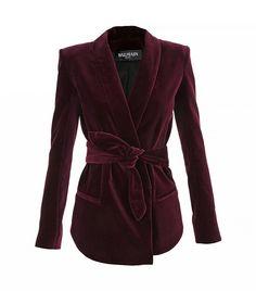 Belted Cotton Velvet Blazer