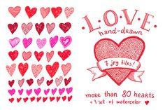 Check out Hand-drawn hearts set by natsa on Creative Market