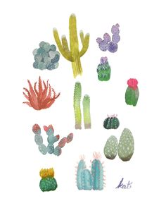 cactus print . cacti party // cactus and succulent watercolor illustration by twamies on Etsy