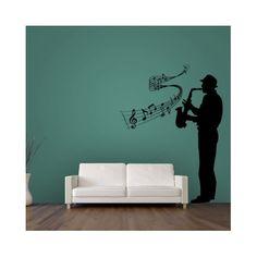 Vinilos decorativos con saxofonista, con pentagrama y notas musicales, para la decoración de paredes con pegatinas de pared modernas de estilo urbano y musical.