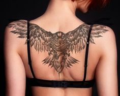 Wing Tattoo On Shoulder, Wing Tattoos On Back, Girl Back Tattoos, Eagle Back Tattoo, Girl Stomach Tattoos, Lower Stomach Tattoos For Women, Eagle Chest Tattoo, Lower Belly Tattoos, Wings On Neck Tattoo
