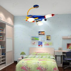creative cartoon airplane childrens bedroom led ceiling lamps morden kids study room ceiling boys bedroom lighting