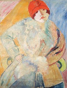 © Sigrid Maria Hjertén - Donna con pelliccia e cappello rosso (1915)