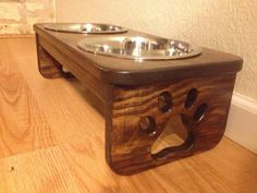 Raised Dog Bowl Holder  Two Quart Bowls  by CustomWoodworksATX, $49.00