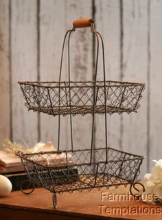 Two-Tiered-STORAGE-BASKET-Wire-DECOR-Shabby-VINTAGE-Stand-METAL-Vegetable-FRUIT