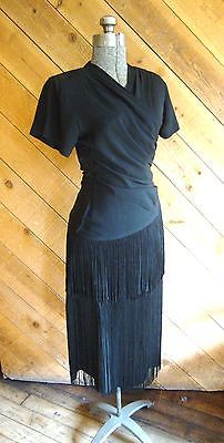 Vtg 1940's #black rayon #crepe dress with #double tier deep long fringe *xxs-xs,  View more on the LINK: 	http://www.zeppy.io/product/gb/2/351527595777/