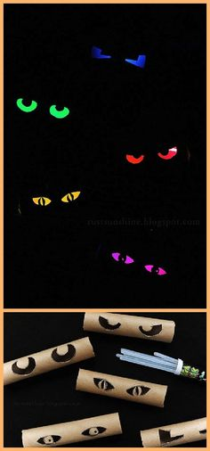 DIY Glowing Eyes - Easy and Cheap Halloween Window Display Decorations Tutorial   Rust and Sunshine - Spooktacular Halloween DIYs, Crafts and Projects - The BEST Do it Yourself Halloween Decorations
