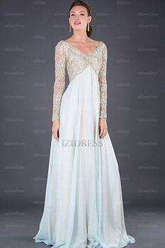 A-Line/Princess V-neck Floor-length Chiffon Lace Mother of the Bride Dress - IZIDRESSBUY.com at IZIDRESSBUY.com