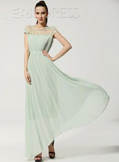 New Fashion Lace Patched Round Collar Short Sleeve Maxi Dress 2b6a785d8d