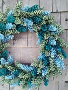 Multi-color pine cone wreath.