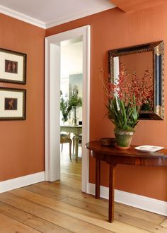 Persimmon orange walls in a vestibule. Decorated by McGrath II. Bedroom Wall Colors, Paint Colors For Living Room, Living Room Designs, Living Room Decor, Bedroom Decor, Living Room Orange, Orange Walls, Spacious Living Room, House Colors