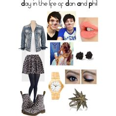 """Day in the life of Dan and Phil"" by laurrievn on Polyvore"