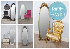 RePIn to win a Cheval Mirror in the colour of your choice! There are 5 colours to choose from and 3 ways to enter! Good Luck! vintagevibe.co.uk Colours, Decor, Furniture, House, Home, Cheval Mirror, Mirror, Home Comforts, Home Decor