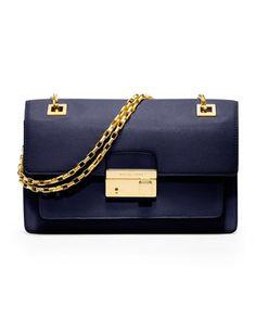Feeling blue? That's a good thing. Michael Kors Gia Chain-Strap Flap Bag