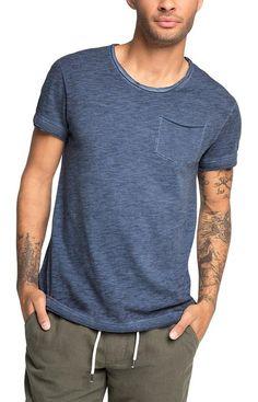 edc by ESPRIT Herren T-Shirt mit Spray - Effekt - Slim Fit, Gr. X-Small, Blau (NAVY 400)