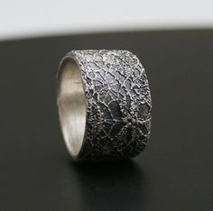 ring made by wax casting an actual piece of Belgian vintage lace in sterling silver by vdeux