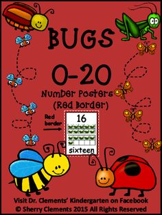 Number Posters 0-20 - Bugs (Red Border) from Dr. Clements' Kindergarten on TeachersNotebook.com -  (23 pages)  - Number Posters 0-20 - Bugs (Red Border) - Great for a classroom number wall display!