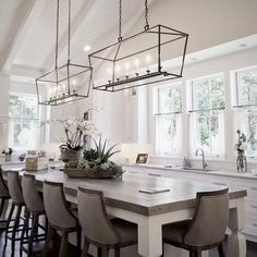 Double Center Island Pendants - Large Kitchen with XL Center island Clean modern farmhouse design