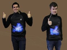 'Woven' turns you into a Kinect... concept garment doubles as game hardware, and could even function as a television remote. Christiaan Ribbens and Patrick Kersten, recent graduates of the Utrecht School of the Arts, embedded a sweater and pair of jeans with a small Bluetooth module, speakers, motion sensors, shake motors, a three-color LED screen, and other gizmos to create their concept gaming platform. Three LilyPad Arduino microcontrollers process the data and operate the LEDs.