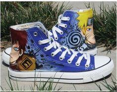 Naruto Uzumaki Naruto Gaara Anime Painted Canvas Shoes,High-top Painted Canvas Shoes