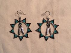 1in Hoops - Turquoise/Black Sun Feather Earrings