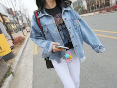 With a penchant for loud rock music, slip into this light blue denim jacket, and get ready to rock.