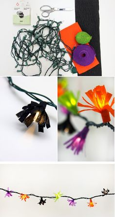 Cut up streamers to make these fringe lights.
