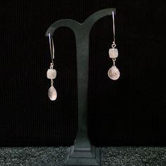 Drop Earrings with Rose Quartz teardrops & faceted cube. Sterling silver V shape hooks. Gemstone earrings, handmade, for her, pink colour by Menir on Etsy