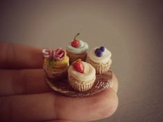 DIY fake food - miniature cupcake fruits & rose