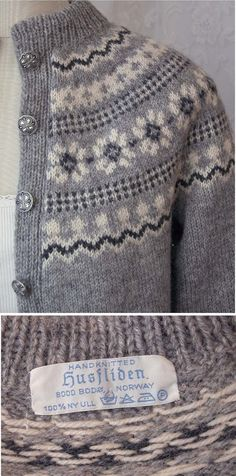 *DESCRIPTION: Gorgeous vintage (we are guessing 70s 80s) light gray fair isle sweater hand knit (or Husfliden) in Norway. Sweater features a Nordic design and the body is done in a light gray with the designs being done in white and black. Sweater buttons with pretty silver tone
