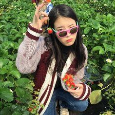 IU Picks Strawberries with Her Fashion Forward Dad Kpop Girl Groups, Kpop Girls, Sulli, Kpop Aesthetic, Korean Singer, Girls Generation, Queen, Girl Crushes, Girl Power