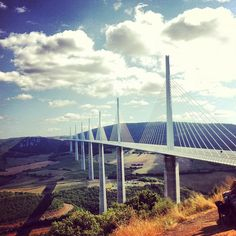 Viaduc de Millau - tallest road bridge in the world; the central pillar is 343m above the ground – taller than the Eiffel Tower.
