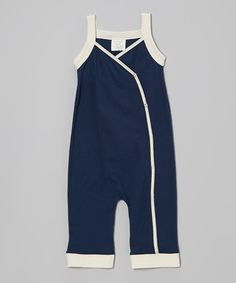 Look at this #zulilyfind! Navy & Cream Organic Wrap Top Overalls - Infant & Toddler by Kids Organic #zulilyfinds
