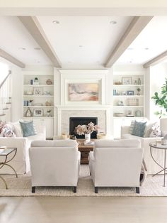 Living Room Decor - Neutral living room with Benjamin Moore classic gray walls, simply white builtins, white slipcovere - Modern Farmhouse Living Room Decor, Modern Room, Rustic Farmhouse, White Living Room Furniture, Living Room White Walls, Modern White Living Room, Farmhouse Fireplace, Farmhouse Ideas, Living Room 2 Sofas
