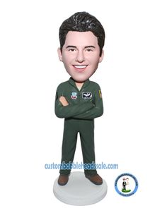 Personalized bobblehead Pilot In Flight Suit With Arms Acrossed-