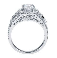 Platinum Contemporary Halo Engagement Ring side view