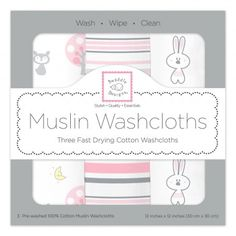 Cute Gift idea in a cute box! Muslin Washcloths - Pink Thicket (Set of 3) - for the new parent. #womanownedbusiness #soft #cotton #newbornneccessity #Baby #Pink #BabyGirl  #Bunnies