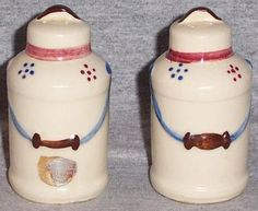 Vintage Shawnee Pottery Milk Can Salt and Peeper Shakers