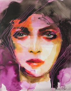Original Portrait Painting by Anna Matykiewicz Purple Painting, The Other Art Fair, Saatchi Art, Original Paintings, Watercolor, Ink, Portrait, Artist, Artwork