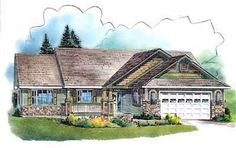 Traditional Style House Plans - 1863 Square Foot Home , 1 Story, 2 Bedroom and 2 Bath, 2 Garage Stalls by Monster House Plans - Plan 40-599