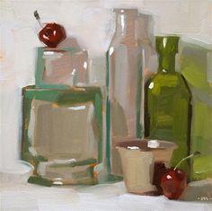 """Coy Cherries - SOLD"" - Original Fine Art for Sale - © Carol Marine"