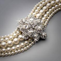 Vintage crystal and pearl bracelet