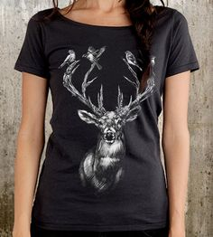Deer & Birds Scoop Neck T-Shirt $27 | An unexpected group of forest friends flock together in this h... | T-Shirts
