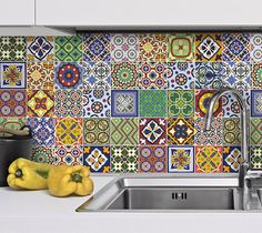 Tile Decals Talavera for Kitchen Backsplash from wall-decals by DaWanda.com
